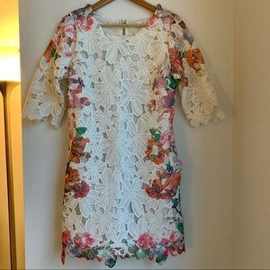 Chicwish white multicolor lace 3/4 sleeve dress Lg